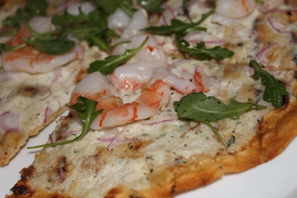 GRILLED SHRIMP FLAT BREAD, arugula, red onion, borsin cheese