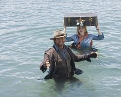 FOX WALDEN - HEAD CASE: Alexandra Rover (Jodie Foster) converses with her imaginary friend Alex Rover (Gerard Butler) in Nim's Island.
