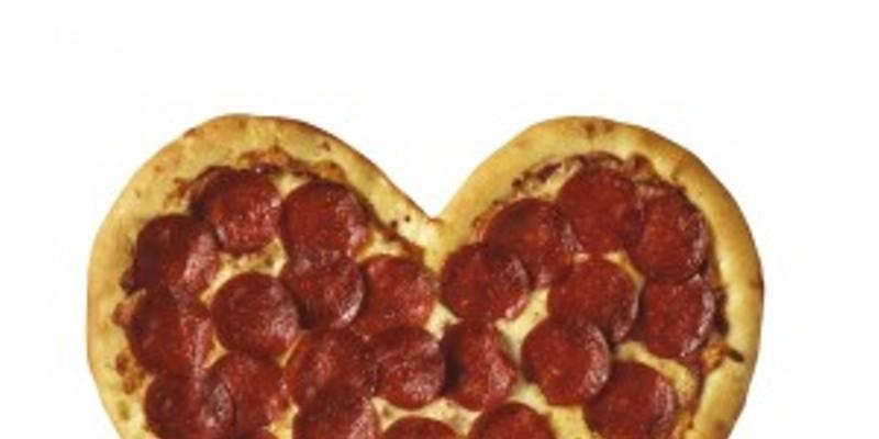 Heart-shaped pizza shot