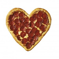 Heart-shaped pizza shot