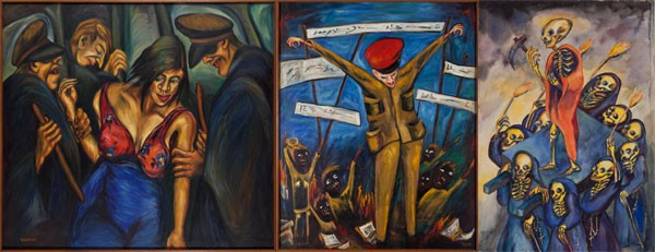 HELL ON EARTH: (l-r) 'Justicia (Justice),' 'Huelga de Estudiantes (Student Strike)' and 'La Danza (Dance)'