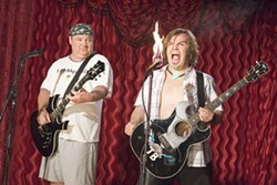 "ZADE ROSENTHAL / NEW LINE - HELL'S DUMBBELLS ""KG"" (Kyle Gass) and ""JB"" (Jack Black) fire it up in Tenacious D in The Pick of Destiny"