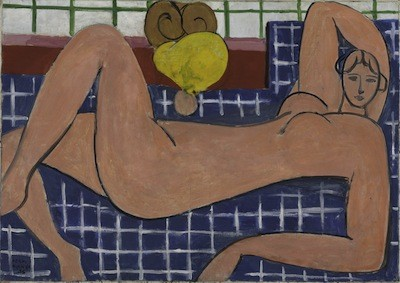 Henri Matisse, Large Reclining Nude, 1935. Oil on canvas, 26 1/8 x 36 ¾ inches (66.4 x 93.3 cm). The Baltimore Museum of Art: The Cone Collection, formed by Dr. Claribel Cone and Miss Etta Cone of Baltimore, Maryland, BMA 1950.258. © 2012 Succession H. Matisse / Artists Rights Society (ARS), New York.