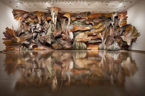 Henrique Oliveiras Fascia installation at UNC Charlotte Center City.