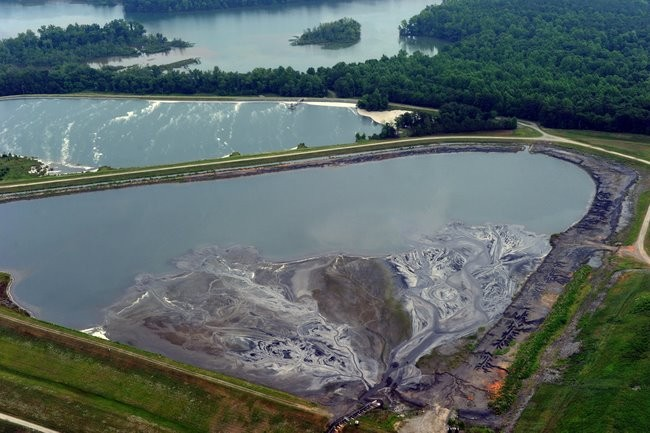 Here are the two unlined, high-hazard coal ash ponds on Mountain Island Lake (aka our drinking water).Thanks to Nancy Pierce and Southwings for the photo.