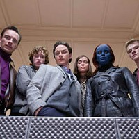 HEROES ON HIGH: Michael Fassbinder, Caleb Landry Jones, James McAvoy, Rose Byrne, Jennifer Lawrence and Lucas Till in X-Men: First Class