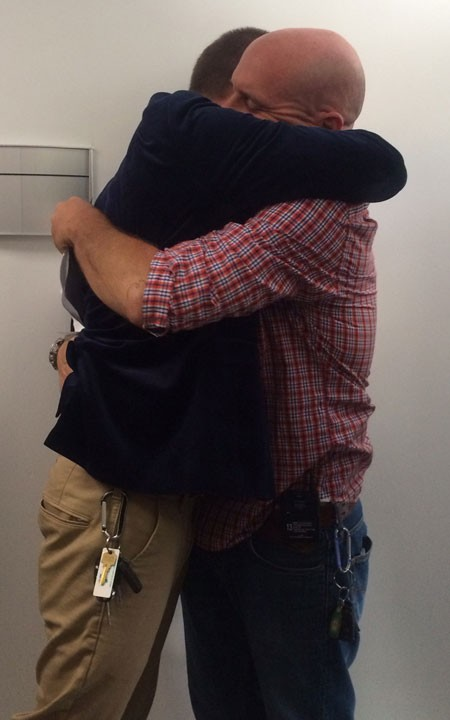 Hewell and Lindsley embrace after being denied a marriage license. - ANA MCKENZIE