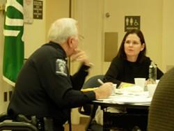TARA SERVATIUS --- - Homicide task force members Police Chief Darrel Stephens and Jane Montognese.