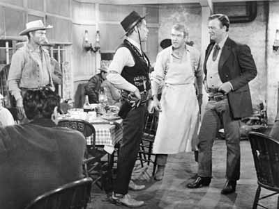 HOW THE WEST WAS FUN: Lee Marvin, James Stewart and John Wayne star in the irresistible Western The Man Who Shot Liberty Valance