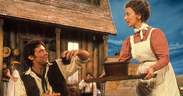 Hugh Jackman and Maureen Lipman in Oklahoma! (Photo: Image Entertainment)