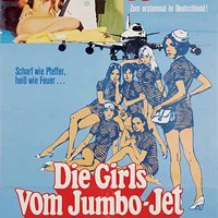 INTERNATIONAL FLIGHT: Vintage German lobby card for The Stewardesses, now available in all its 3-D glory on DVD.