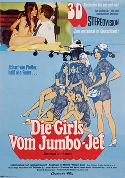 SHOUT! FACTORY - INTERNATIONAL FLIGHT: Vintage German lobby card for The Stewardesses, now available in all its 3-D glory on DVD.