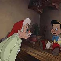 'IT'S ALIVE! IT'S ALIVE!': An animated Pinocchio surprises Geppetto in Pinocchio.