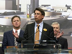 SEAN MEYERS/ICON SMI/NEWSCOM - IT'S PAT: Former Mayor Pat McCrory (center) with NASCAR Chairman and CEO Brian France (left) and former Gov. Mike Easley in March 2006