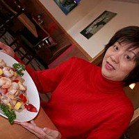 IVE GOT A SECRET: Kim Xiao with Chicken & Shrimp stir-fry from the American menu  if youre adventurous, ask for the secret one