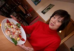 CATALINA KULCZAR - IVE GOT A SECRET: Kim Xiao with Chicken & Shrimp stir-fry from the American menu  if youre adventurous, ask for the secret one
