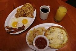 CATALINA KULCZAR - Izzy's bacon & eggs (left) omelet and potatoes (right)
