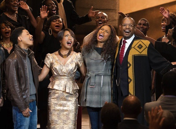 Jacob Latimore, Angela Bassett, Jennifer Hudson and Forest Whitaker in Black Nativity. (Photo: Fox Searchlight)