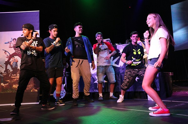 Janoskians and one of the dance battle contestants.