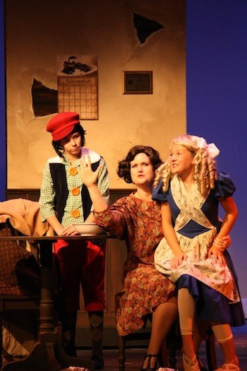 Jessie Sherman (Baby Louise), Lisa Smith Bradley (Rose), and Carlyn Head (Baby June) in Theatre Charlottes Gypsy.
