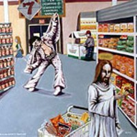 JESUS AND ELVIS GROCERY SHOPPING by Jerry      Kirk, included in Sanctuary's Art In America      exhibit