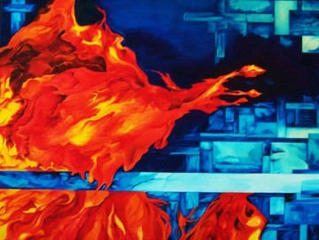 "Jill Chisholm's ""Fire & Ice"" painting is featured in the Organic Geometry exhibition at Julia's Coffee."