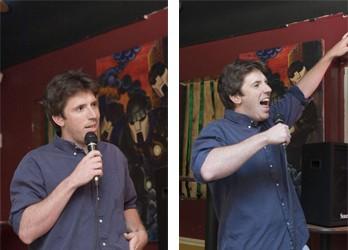 Joe Zimmerman cracks his goofus grin...and fires up the crowd - ANGUS LAMOND