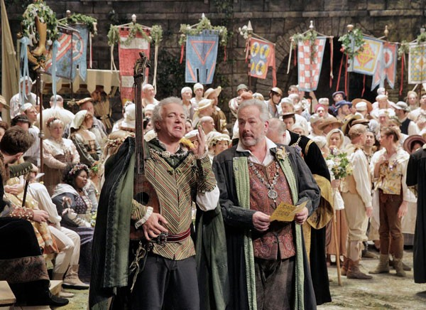 "Johannes Martin Kränzle as Beckmesser and James Morris as Hans Sachs in Wagner's ""Die Meistersinger von Nürnberg."" Photo: Ken Howard/Metropolitan Opera"