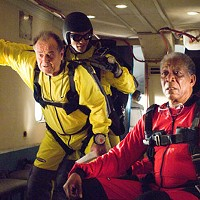 JUMPY OLD MEN: Edward (Jack Nicholson) and Carter (Morgan Freeman) are ready to bail in The Bucket List.