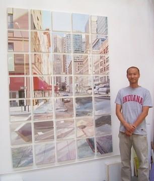 "Jung Han Kim with his artwork, titled ""2nd Street at Natoma"""