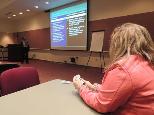 Karen Corzine of the Carolina Entertainment Network participates in an opinion survey using the Planning Department's new polling technology. - RYAN PITKIN