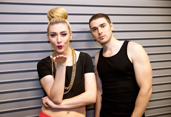 Karmin backstage at the Fillmore on April 18.