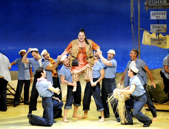 Keala Settle as Bloody Mary with the Seabees; Photo by Peter Coombs