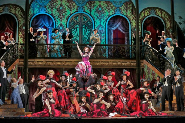 Kelli O'Hara as Valencienne with the Grisettes in Lehár's The Merry Widow. Photo credit: Ken Howard/Metropolitan Opera