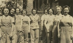 """PHOTO COURTESY OF JACOB S. MAUNEY MEMORIAL LIBRARY - Kings Mountain's own """"Rosie the Riveters"""" - 'The Old Mountaineer' newsletter sent news from home via the Margrace and Pauline Mills in Kings Mountain to the men and women serving in World War II.  This photo, from the June 28, 1943 issue, notes: """"Sending along a photo of some of the girls holding down your jobs."""""""