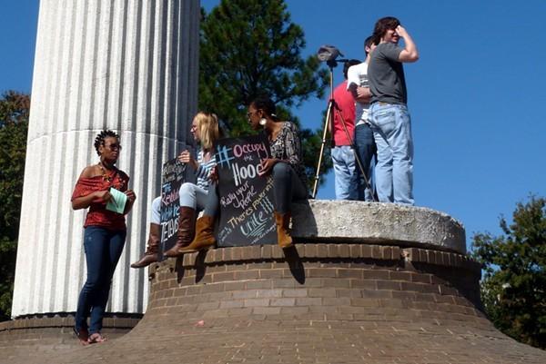 (L-R) Adeishia Dubose, Shayna Gordon, Ryan Erwin and a student film crew the bell tower