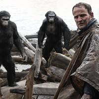 (l-r) Andy Serkis, Toby Kebbell, Jason Clarke and Karin Konoval in Dawn of the Planet of the Apes (Photo: Fox)