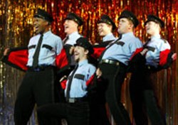 CAROL ROSEGG - (L to R): Troy Scarborough, Patrick Cogan, Eric - Thorne (kneeling), Jeremiah Zinger, Joe Coots and - Steve DeBruyne in a  scene from Broadway's smash - hit musical comedy, The Full Monty.