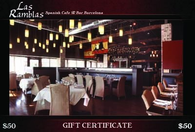 Las Ramblas - Authentic Spanish Tapas cuisine with a warm dcor genuine to restaurants of Spain. Vast selection of both modern and traditional Tapas, paellas and Spanish wines. - 2400 Park Road , in the Courtyard Shopping Center. 704-335-8444 - Open Monday-Saturday, - bar 4 p.m., cafe at 5 p.m. - Gift certificates can be purchased online, in person or over the phone. - www.LasRamblasCafe.com
