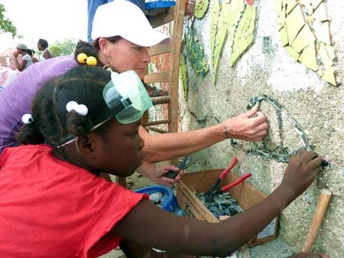 Laurel True working with youth, ACFFC, Jacmel, Haiti