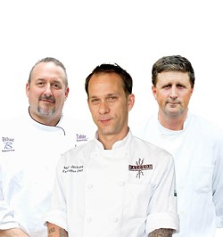 ASHLEY GOODWIN - LEARN FROM THE MASTERS: (l to r) Chefs Gene Briggs, Marc Jacksina and Bruce Moffett share some savory advice.