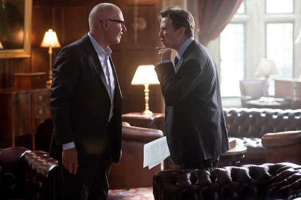LET THE SPITTLE BEGIN: Jock Goddard (Harrison Ford) and Nicolas Wyatt (Gary Oldman) face off in Paranoia. (Photo: Relativity Media)