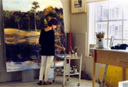 LINDA FANTUZZO at work in her studio