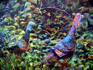 "Lita Gatlin's ""Hen and Gobbler"" painting will be featured in Providence Gallery's Transitions exhibition."