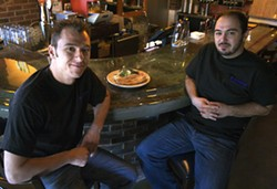 KATIE WILLIAMS - LUSTY OPTIONS: Branko (left) and Djordje Avramovic with a plate of burek