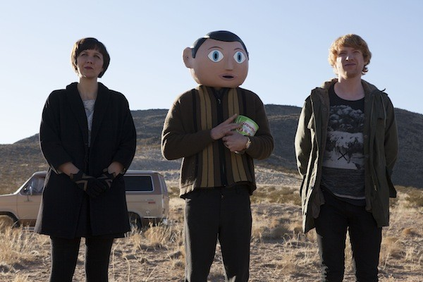 Maggie Gyllenhaal, Michael Fassbender and Domhnall Gleeson in Frank (Photo: Magnolia Pictures)