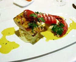 RADOK - Mahi and Lobster Tail with Leek and Lobster Custard - and Mango Butter Sauce