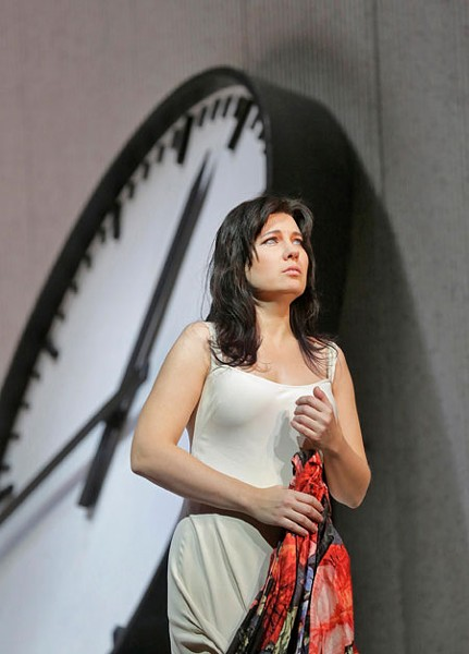 "Marina Rebeka as Violetta in Verdi's ""La Traviata."" Photo by Ken Howard/Metropolitan Opera."