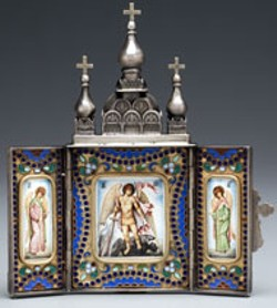 MINIATURE TRIPTYCH: ST. MICHAEL AND - ARCHANGELS Russian icon from 19th century - included in current Mint Museum exhibit