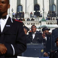 Minister Louis Farrakhan speaks at the Million Man March on October 17, 1995.